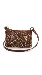 Campomaggi Studded Cross Body Pouchette Dark Brown