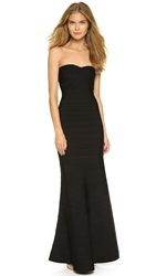 Herve Leger Strapless Gown Black