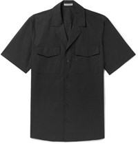 Bottega Veneta Slim Fit Camp Collar Cotton Poplin Shirt Black