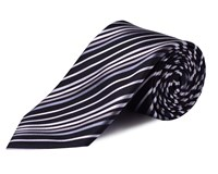 Double Two Stripe Silk Tie Black