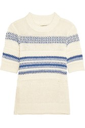 Current Elliott Striped Open Knit Linen And Cotton Blend Sweater Ivory