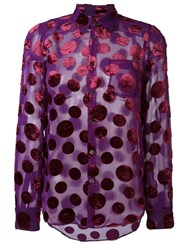 Junya Watanabe Comme Des Gara Ons Vintage Polka Dot Sheer Shirt Pink And Purple