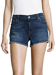 7 For All Mankind Mid Waist Fringed Denim Shorts Dark Blue