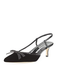 Manolo Blahnik Galop Velvet 60Mm Slingback Pump Black