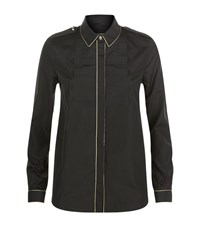 Burberry Piped Jacquard Military Shirt Female Black