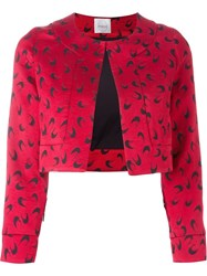 Eggs Horseshoe Print Cropped Jacket Red
