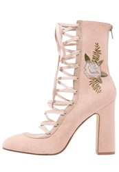 Chinese Laundry Sylvia Laceup Boots Blush Beige