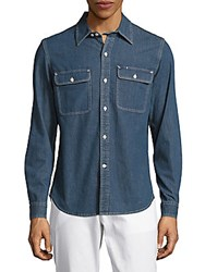 Earnest Sewn Damon Casual Denim Classic Fit Cotton Shirt Raw Blue