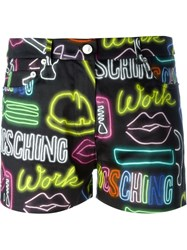 Moschino Neon Sign Shorts Black