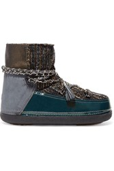 Inuikii Chain Trimmed Boucle Suede And Leather Ankle Boots Blue