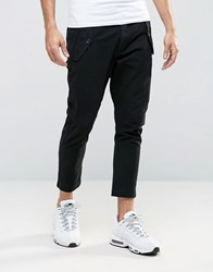 Asos Tapered Cropped Trousers With Military Pockets In Black Black