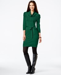 Ny Collection Fringe Cowl Neck Sweater Dress Pine Grove