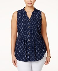 Charter Club Plus Size Anchor Print Blouse Only At Macy's Intrepid Blue Combo