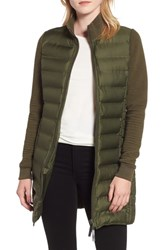 Marc New York Puffer Coat With Puff Knit Sleeves Olive