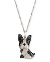 Qeelin Wang Wang French Bulldog Pendant Necklace With Black And White Diamonds