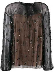 Rochas Crystal Embellished Blouse Black
