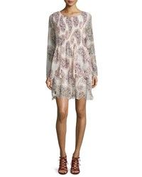 See By Chloe Long Sleeve Paisley Chiffon Dress Winter White