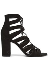 Saint Laurent Babies Lace Up Leather Sandals Black