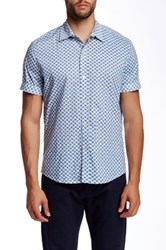Parke And Ronen Clover Field Print Short Sleeve Shirt Blue