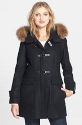 Women's Trina Turk Genuine Coyote Fur Trim Wool Blend Duffle Coat