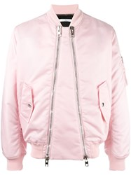 Givenchy Double Zip Front Bomber Jacket Pink Purple
