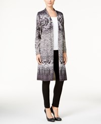 Jm Collection Printed Duster Cardigan Only At Macy's Deep Black Combo
