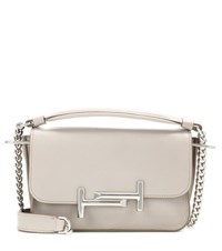 Tod's Double T Mini Leather Shoulder Bag Grey