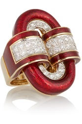David Webb 18 Karat Gold Platinum Diamond And Enamel Ring