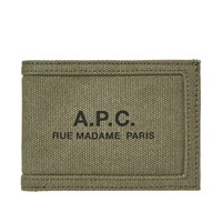 A.P.C. Recuperation Washed Canvas Logo Wallet Green