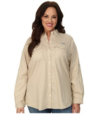 Columbia Plus Size Bonehead Ii L S Shirt Fossil Women's Long Sleeve Button Up Beige