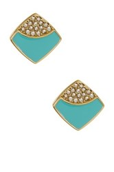 Ariella Collection Square Stud Earrings Blue