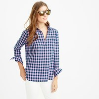 J.Crew Petite Gingham Popover Shirt In Blue And Lilac
