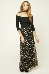 Forever 21 Floral Embroidery Maxi Skirt Black Green