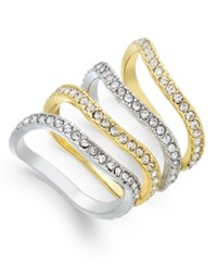 Inc International Concepts Two Tone Set Of Four Pave Stackable Rings Only At Macy's
