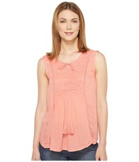 Rock And Roll Cowgirl Sleeveless Top B5 1303 Coral Women's Sleeveless