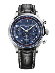 Baume And Mercier Capeland Stainless Steel And Alligator Automatic Chronograph Strap Watch Silver Multi