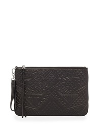 Ash Danica Embossed Leather Clutch Bag Black