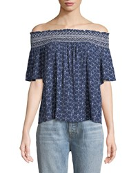 Laundry By Shelli Segal Off The Shoulder Short Sleeve Blouse Blue