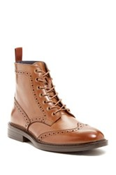 Joseph Abboud Phil Brogue Detail Leather Boot Brown