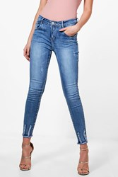 Boohoo High Rise Destroyed Hem Skinny Jeans Blue
