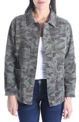 Kut From The Kloth Birdie Stud Detail Camo Cotton Jacket Olive
