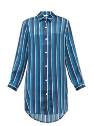 Derek Rose Brindisi 40 Striped Silk Nightshirt Navy