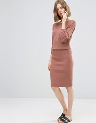 Asos 2 In 1 Knit Dress With Rib Skirt Camel Stone