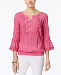 Cable And Gauge Crochet Trim Peasant Blouse Aurora Pink