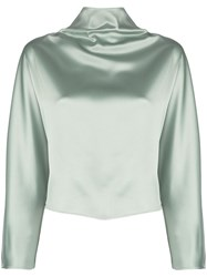 Sally Lapointe Oversized Mock Neck Top Green
