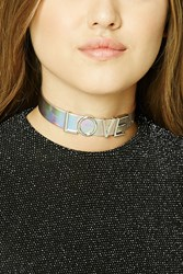 Forever 21 Love Charm Holographic Choker Silver Pink