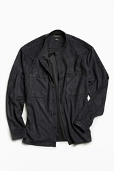 Urban Outfitters Uo Microsuede Band Collar Button Down Shirt Dark Grey