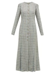 Brock Collection Palagno Crystal Button Wool Blend Tweed Coat Blue