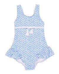Florence Eiseman Tulip Print Ruffle One Piece Swimsuit Blue