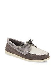 Sperry A O Colorblock Suede Boat Shoes Charcoal